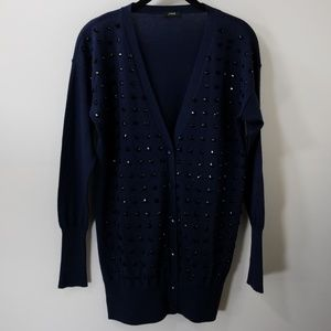 J. Crew Navy Beaded Button Cardigan